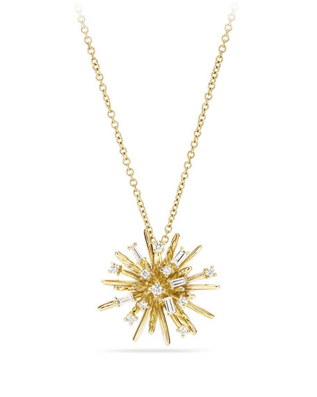 Supernova Small Diamond Pendant Necklace in 18K Yellow Gold