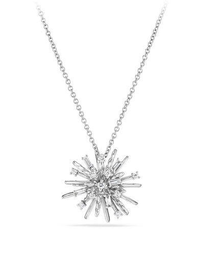 Supernova Small Diamond Pendant Necklace in 18K White Gold