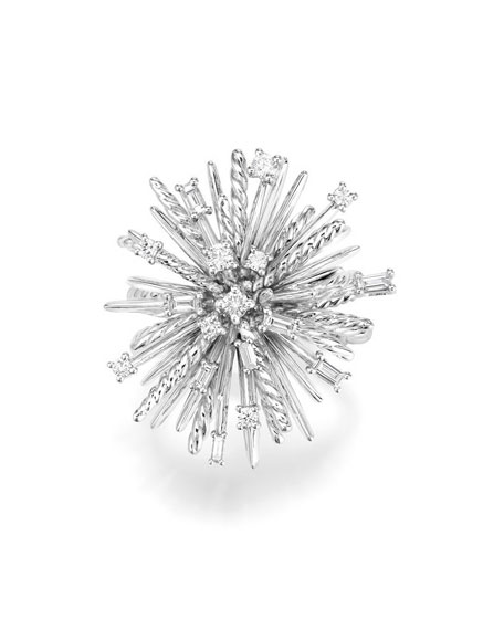 Supernova Mixed-Cut Diamond Spray Ring in 18K White Gold, Size 6