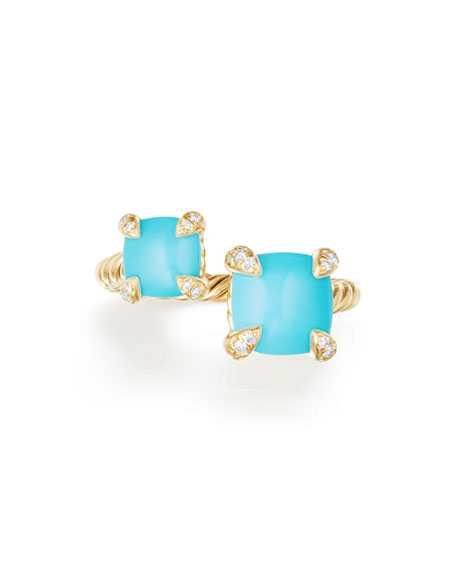 Châtelaine 18K Gold Bypass Ring with Turquoise & Diamonds, Size 7