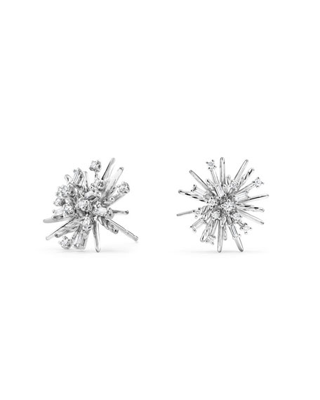 Supernova Diamond Earrings in 18K White Gold
