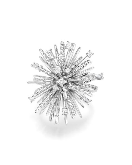 Supernova 18K White Gold Ring with Diamonds, Size 8