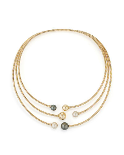 Solari Three-Row Pearl & Diamond Open Collar Necklace