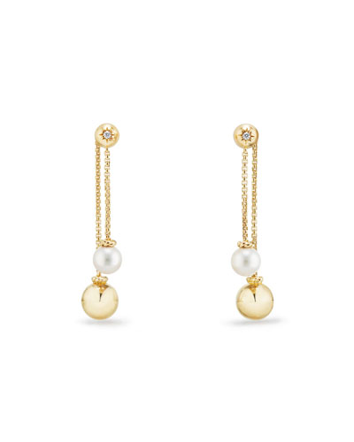 Solari Chain Drop Cluster Earrings with Diamonds & Pearls