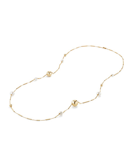 Solari Long 18K Gold Station Necklace with Pearls, 34""
