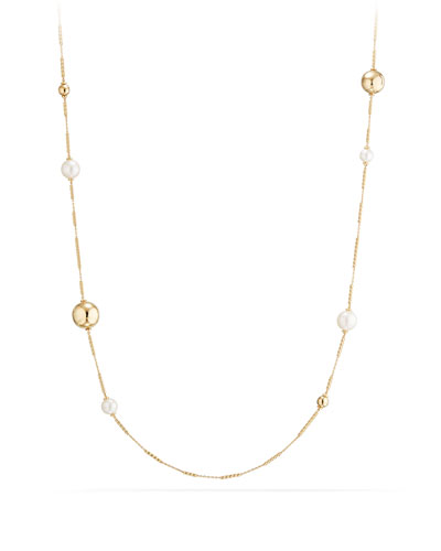 Solari Long 18K Gold Station Necklace with Pearls, 34