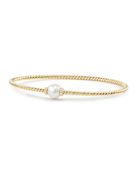 7mm Solari 18K Gold & Pearl Bracelet with Diamonds, Large