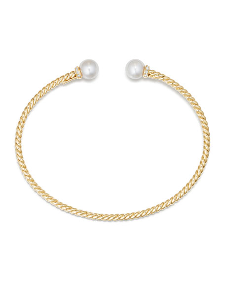 Solari 18k Freshwater Pearl & Diamond Cuff Bracelet, Size L