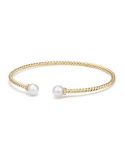 Solari 18k Freshwater Pearl & Diamond Cuff Bracelet, Size S
