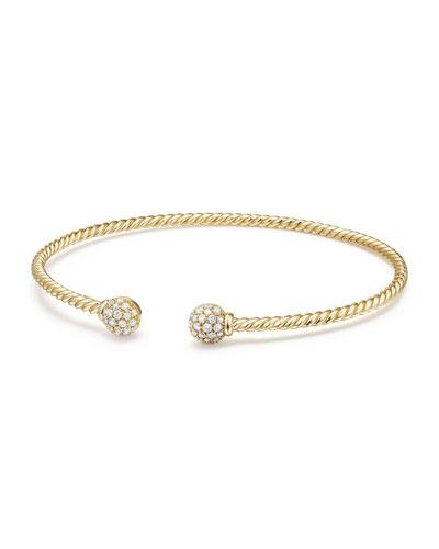 6mm Solari Pavé Diamond Open Cuff Bracelet, Large