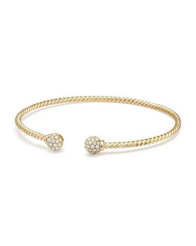 6mm Solari Pavé Diamond Open Cuff Bracelet, Medium