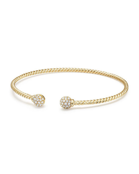 6mm Solari Pavé Diamond Open Cuff Bracelet, Medium