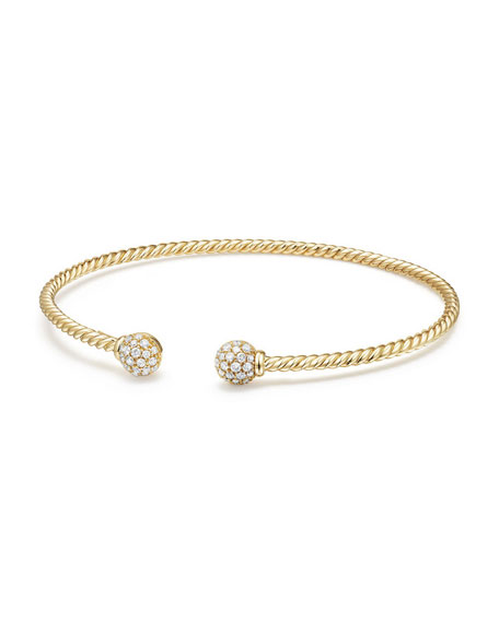 6mm Solari Pave Diamond Open Cuff Bracelet, Small