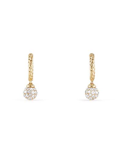 Solari Pavé Diamond Ball Drop Hoop Earrings