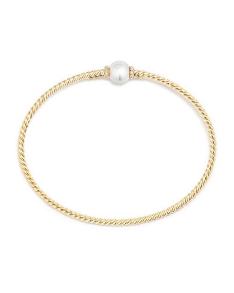 7mm Solari 18K Gold & Pearl Bracelet with Diamonds, Medium