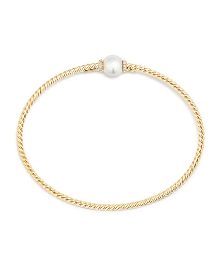 7mm Solari 18K Gold & Pearl Bracelet with Diamonds, Small