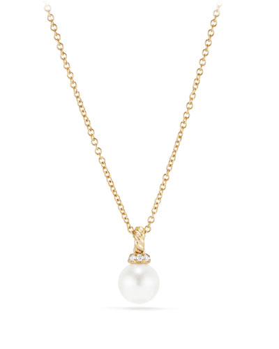 6mm Solari Pearl & Diamond Pendant Necklace