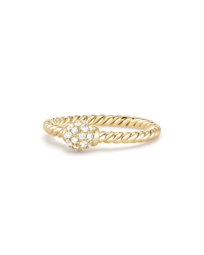 5mm Solari 18K Gold Diamond Station Ring, Size 7