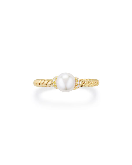 Solari Petite 18k Gold Pearl Station Ring with Diamonds, Size 7