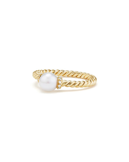 Solari Petite 18k Gold Pearl Station Ring with Diamonds, Size 5