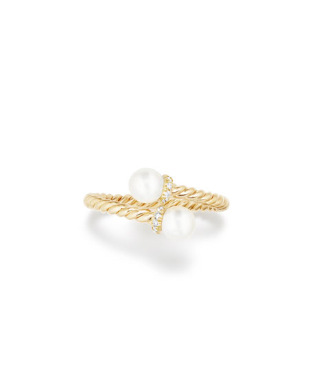 5mm Solari 18K Gold Bypass Pearl Ring with Diamonds, Size 6