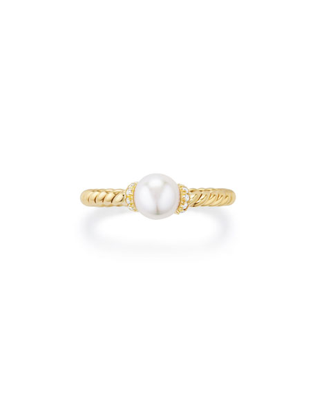 Solari Petite 18k Gold Pearl Station Ring with Diamonds, Size 6