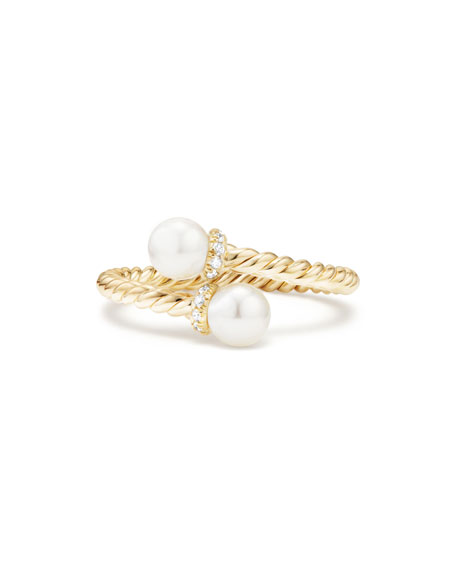 5mm Solari 18K Gold Bypass Pearl Ring with Diamonds, Size 8