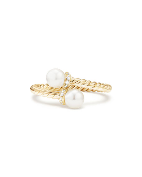 5mm Solari 18K Gold Bypass Pearl Ring with Diamonds, Size 7