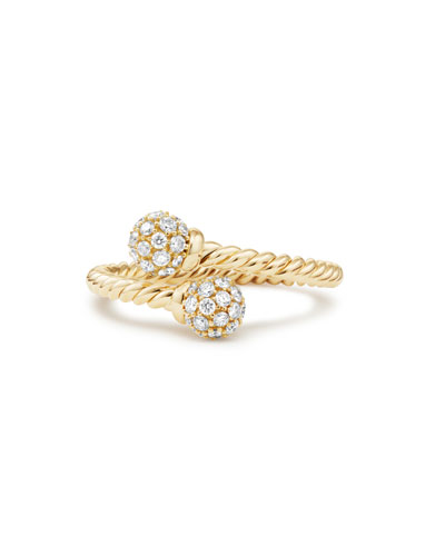 5.5mm Solari 18K Gold Bypass Ring with Diamonds, Size 5