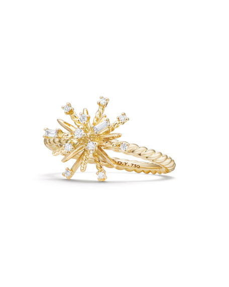 14mm Supernova 18K Gold Ring with Diamonds, Size 6