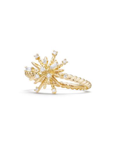 14mm Supernova 18K Gold Ring with Diamonds, Size 7