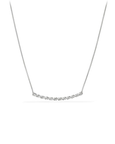 Petite Paveflex 18K White Gold Station Necklace with Diamonds