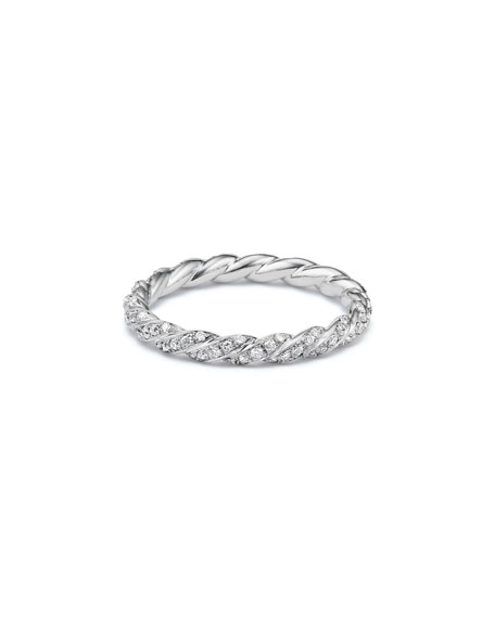 Paveflex 2.7mm Ring with Diamonds in 18K White Gold, Size 6