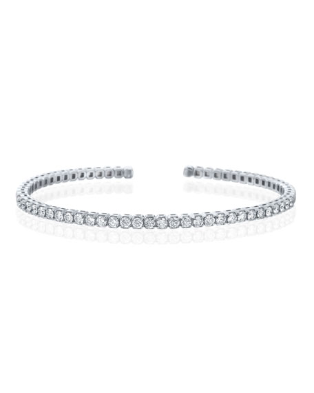 18k Flexible Open Diamond Bangle, White Gold