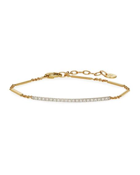 Goa 18K Hand-Engraved Gold Diamond Bar Bracelet