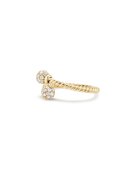 5.5mm Solari 18K Gold Bypass Ring with Diamonds, Size 8