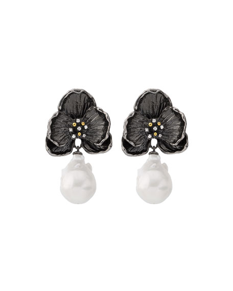 Michael Aram Black Orchid Earrings with Diamonds &