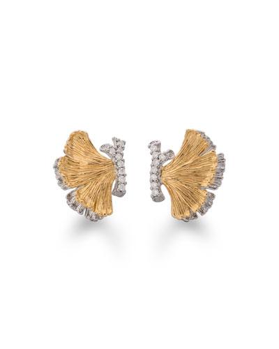 Butterfly Ginkgo Half Earrings with Diamonds