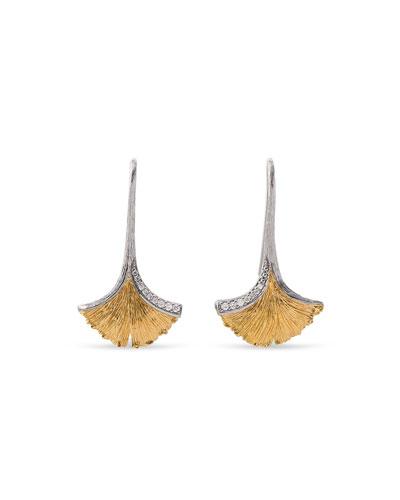 Gingko Leaf Drop Earrings with Diamonds