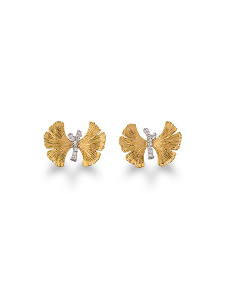 Butterfly Gingko Earrings with Diamonds