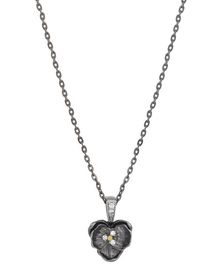 Small Orchid Pendant Necklace with Diamonds in Black Rhodium Plate