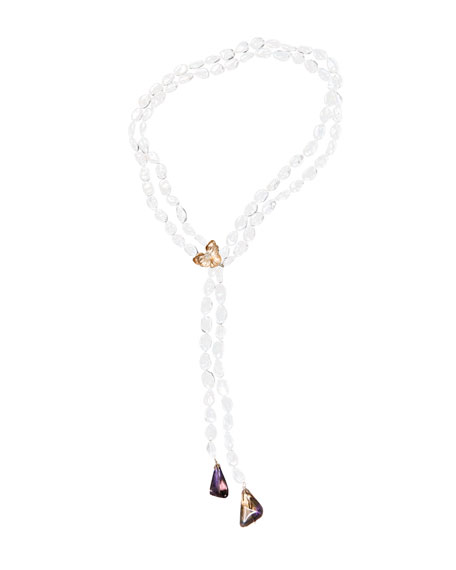 Michael Aram Orchid Lariat Pearl Necklace with Ametrine