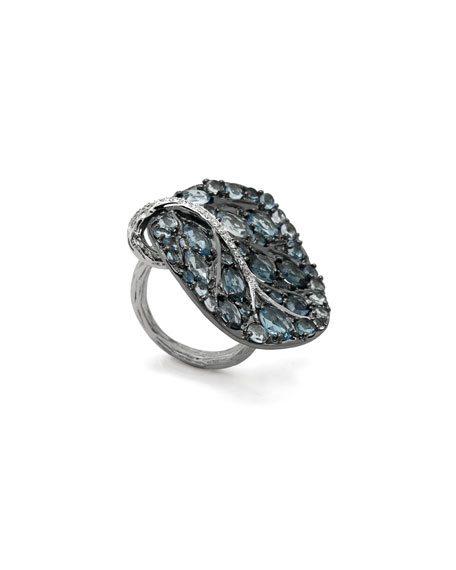 Botanical Leaf Ring with Blue Topaz & Diamonds