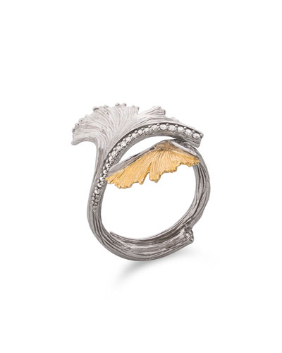 Gingko Double Leaf Ring with Diamonds
