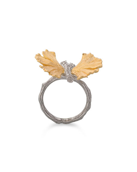 Gingko Butterfly Ring with Diamonds