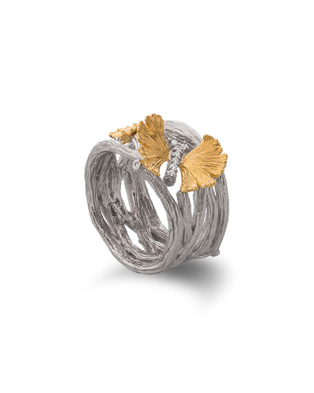 Butterfly Gingko Cuff Ring with Diamonds
