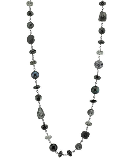 "Beaded Black Mix Wire Necklace with Diamond Bezel Bead, 42"""