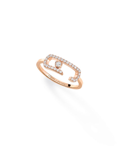 Move Addiction Diamond Ring in 18K Pink Gold, Size 54