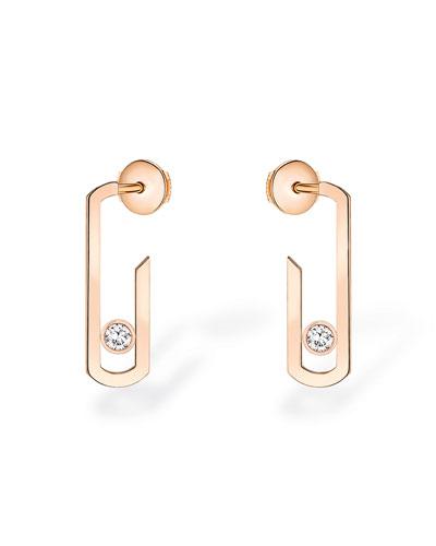 Move Addiction Diamond Bezel Earrings in 18K Pink Gold