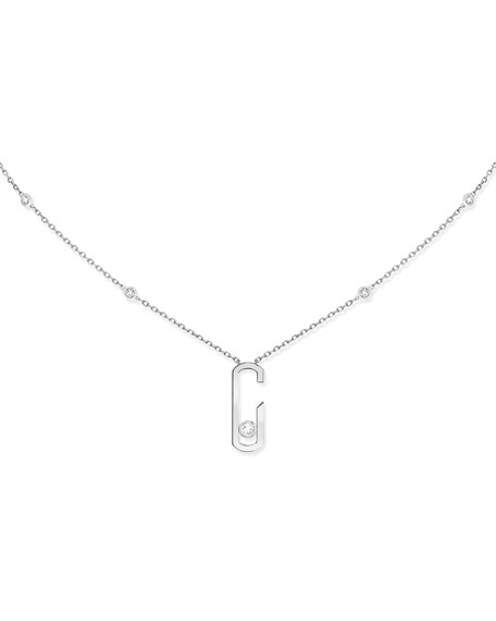 Move Addiction Diamond Bezel Necklace in 18K White Gold